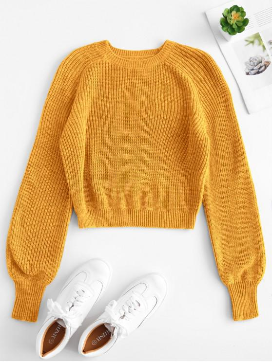 shops Raglan Sleeves Crop Sweater - BEE YELLOW M