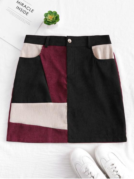 fashion Patchwork Corduroy Mini Skirt - MULTI-A L