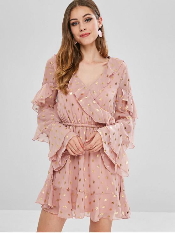 chic Flare Sleeve Tier Ruffled Flounce Dress - PINK XL