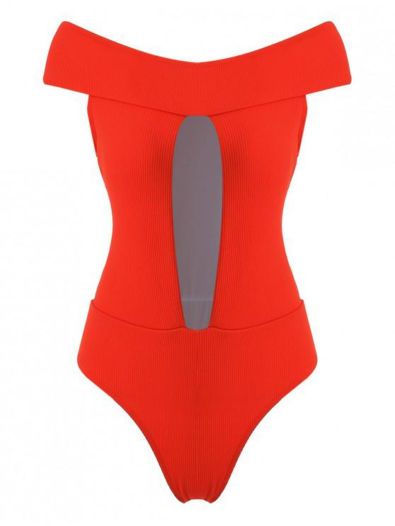 hot ZAFUL Ribbed Off Shoulder Cutout Swimsuit - BRIGHT ORANGE M