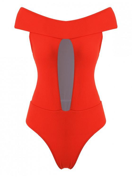 Costume Da Bagno A Costine Con Spalle Scoperte Di ZAFUL - Arancione brillante L