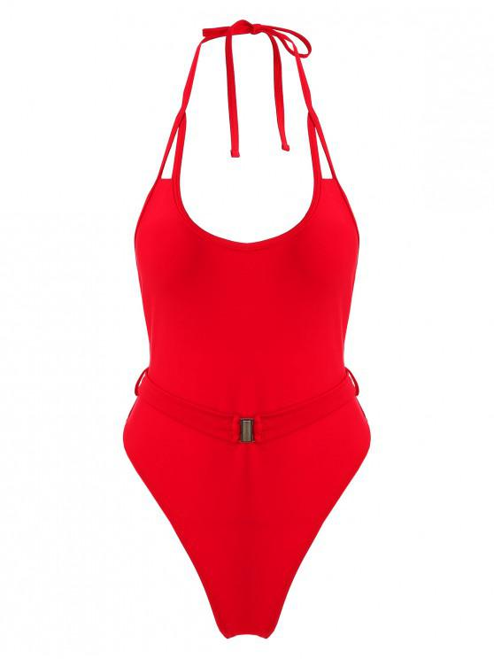 trendy ZAFUL Halter Belt High Cut Swimsuit - LAVA RED M