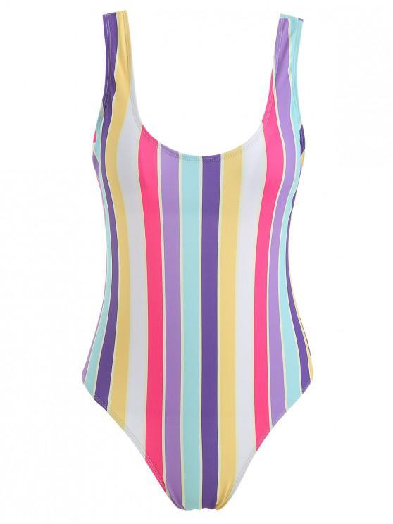 online ZAFUL Rainbow Stripe One Piece Swimsuit - MULTI M