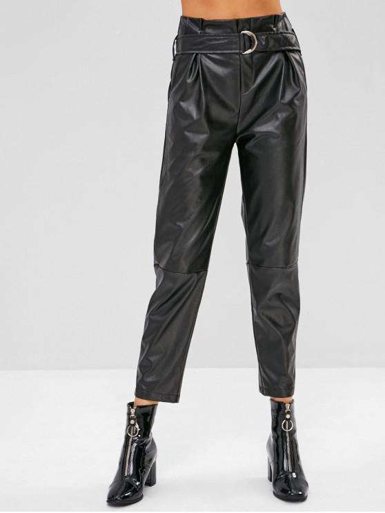womens PU Leather High Waist Belted Pants - BLACK XL