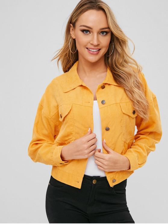 fashion Front Pocket Corduroy Jacket - YELLOW S