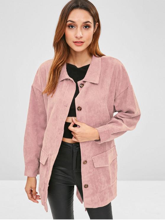 sale Corduroy Tunic Shirt Jacket with Belt - PINK L