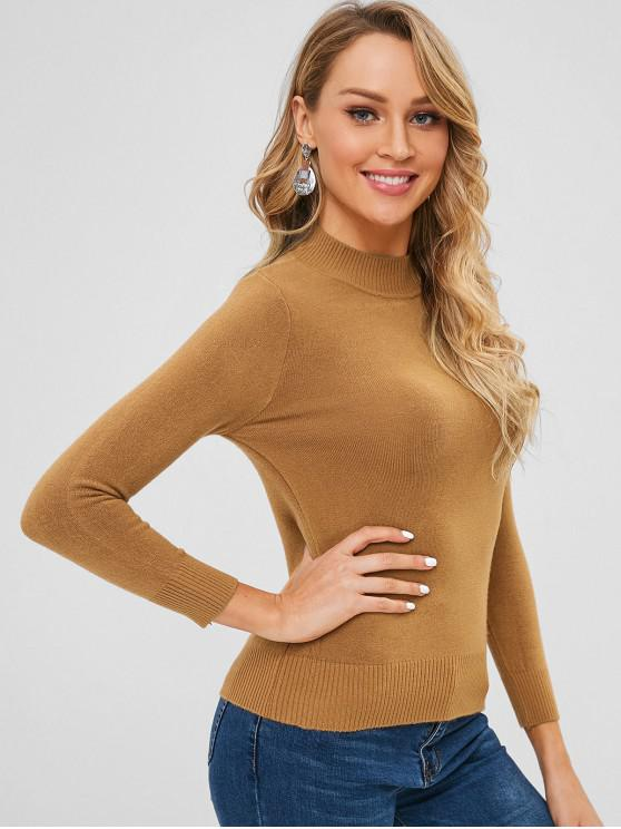 best Basic Slim Fit Sweater - LIGHT BROWN ONE SIZE