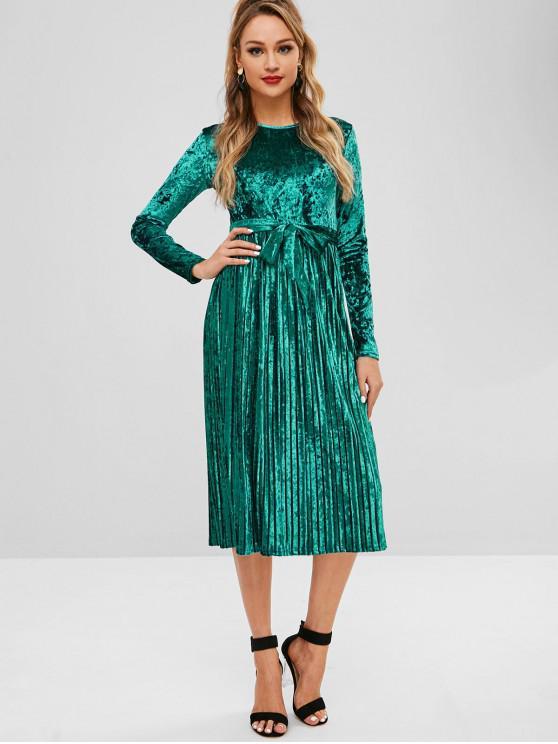 shop Belted Pleated Velvet Dress - LIGHT SEA GREEN M