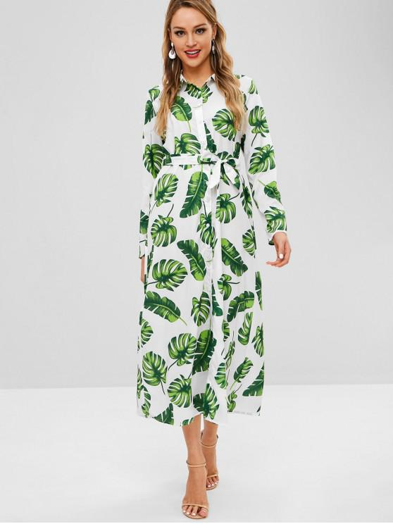 Vestido Maxi com Folhas de Palmeira - Multi-A XL