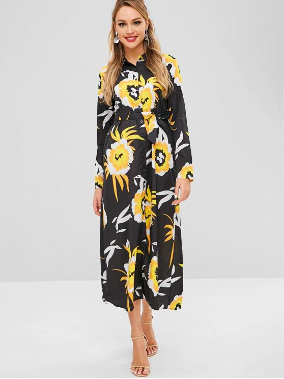 7980bb7c10f 26% OFF  2019 Buttoned Floral Print Belted Maxi Dress In BLACK ...