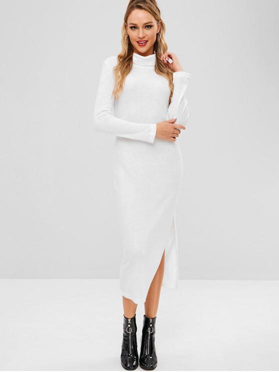Vestito In Maglia Con Collo Alto A Fessura - Bianca S