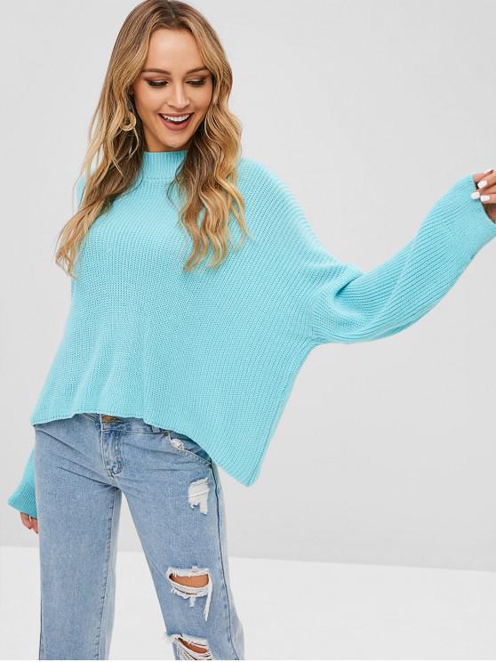 unique Drop Shoulder Mock Neck Ribbed Sweater - LIGHT SLATE ONE SIZE