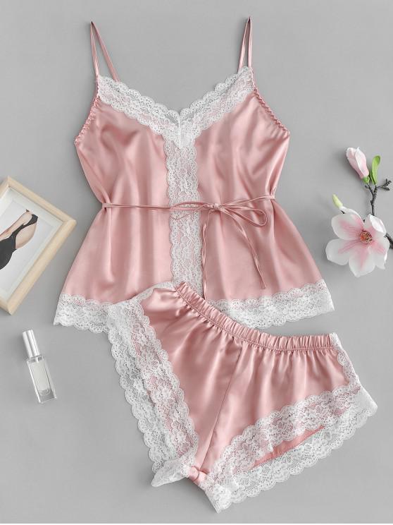 Conjunto de pijama de satén con aplicación de encaje de Cami - NARANJA ROSADO XL