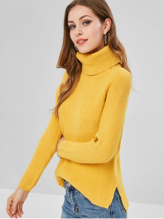 trendy Ribbed High Low Turtleneck Sweater - GOLDEN BROWN ONE SIZE