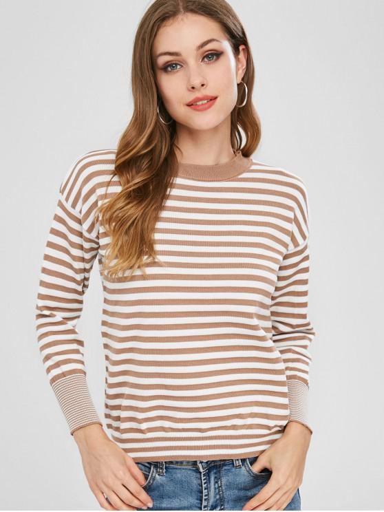 sale Contrasting Pullover Stripes Sweater - MULTI ONE SIZE