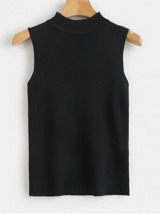 new Ribbed Knit Crewneck Tank Top - BLACK ONE SIZE