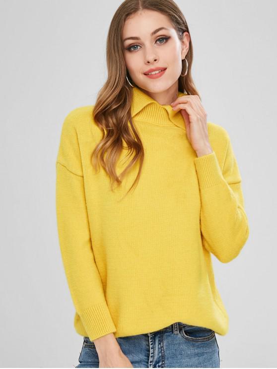 fashion Loose Drop Shoulder Plain Sweater - GOLDENROD ONE SIZE