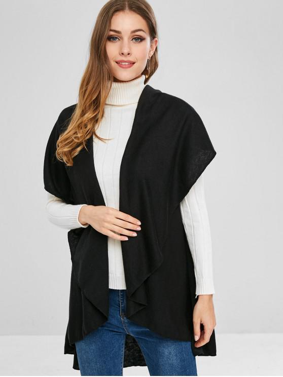 latest Shawl Collar Plain Asymmetric Cardigan - BLACK S