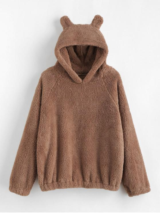 shops Cat Ear Fleece Pullover Hoodie - CAMEL BROWN S