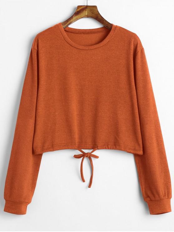 women Drawstring Waist Cropped Sweater - PAPAYA ORANGE L