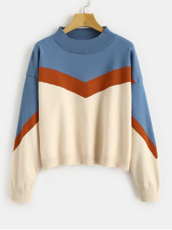 Suéter de punto de bloque de color de contraste - Multicolor-A Talla única
