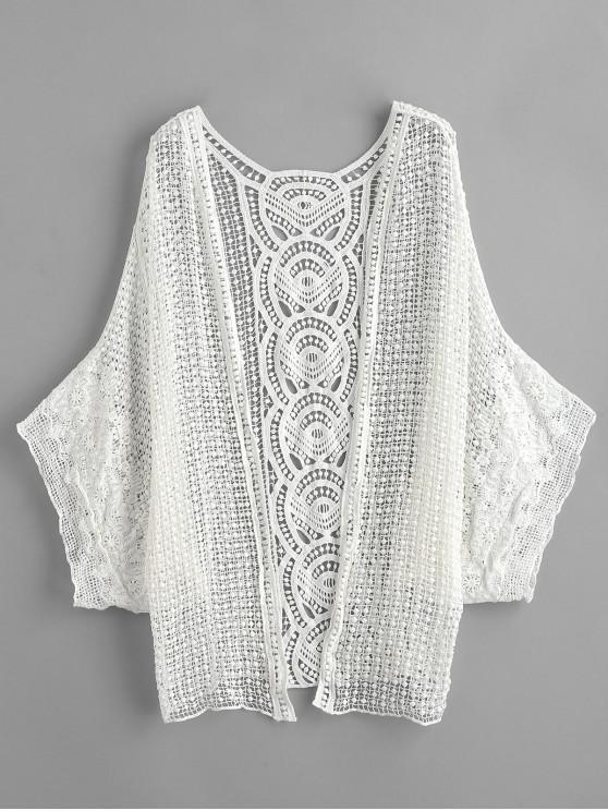 Sheer Crochet Kimono Beach encobrir - Branco Um Tamanho