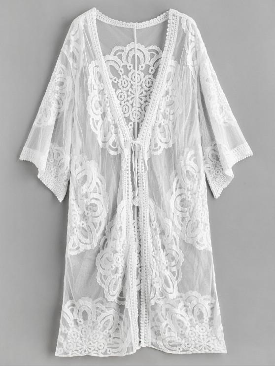32d1432acd 20% OFF] 2019 Sheer Lace Kimono Beach Cover Up In WHITE | ZAFUL