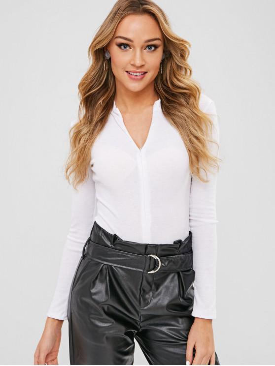 latest Long Sleeves High Cut Bodysuit - WHITE L
