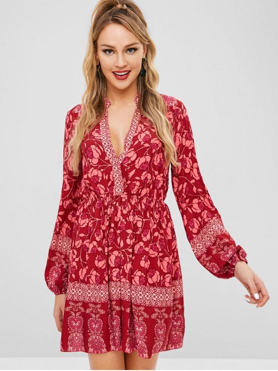affordable ZAFUL Floral Long Sleeve Boho Dress - RED WINE L