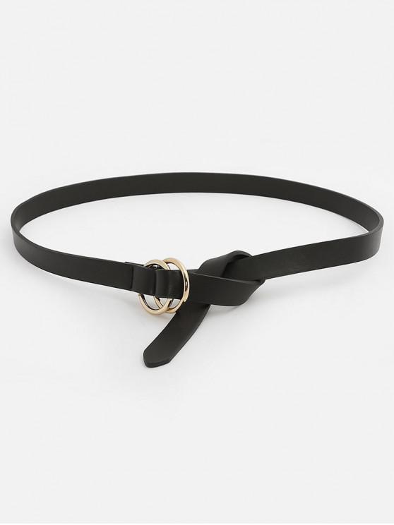 Vintage Adjustable Buckle Faux Leather Skinny Belt - Preto
