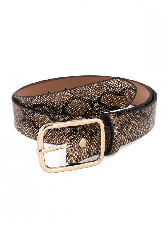 fashion Statement Metal Buckle Snake Pattern Waist Belt - CAMEL BROWN
