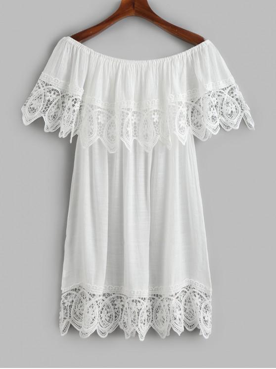 قبالة الكتف foldover الكروشيه التستر اللباس - أبيض حجم واحد