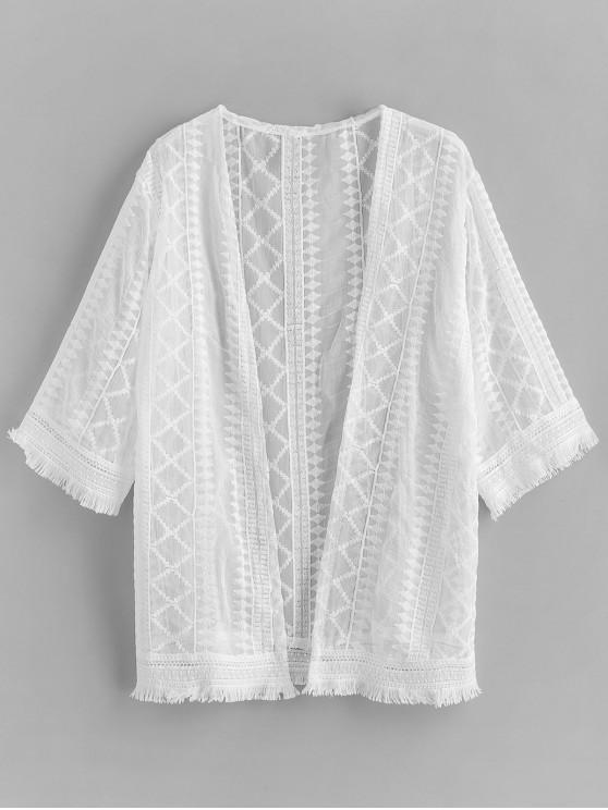 chic Crochet Frayed Hem Beach Cover Up - WHITE ONE SIZE