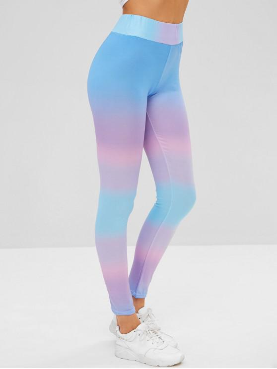 outfit High Waist Ombre Skinny Leggings - MULTI S