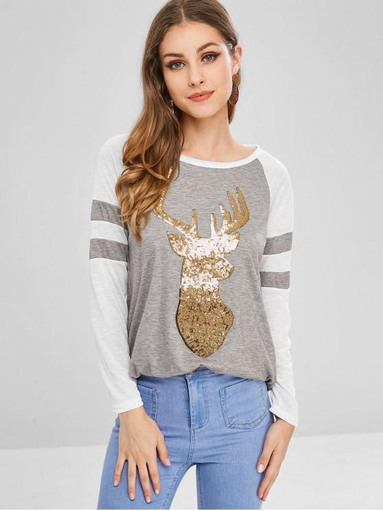 outfits Striped Sequined Reindeer Christmas Tee - GRAY M