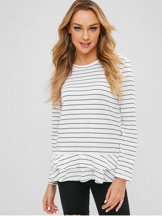affordable Long Sleeves Layered Striped Tee - WHITE S