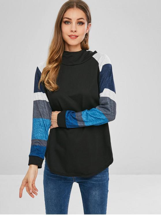 T-shirt à Capuche Rayé Contrasté à Manches Raglan - Noir L
