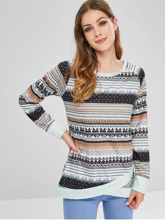 outfits Raglan Sleeves Graphic Asymmetric Sweatshirt - MULTI M