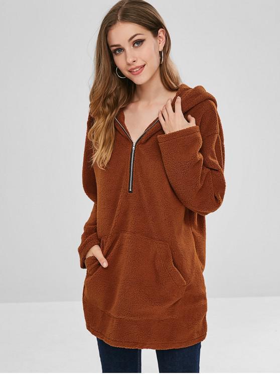 womens Pocket Longline Fluffy Hoodie - BROWN M