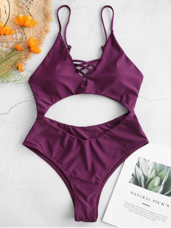 fashion ZAFUL Criss Cross Backless Cutout Swimsuit - DARK ORCHID M