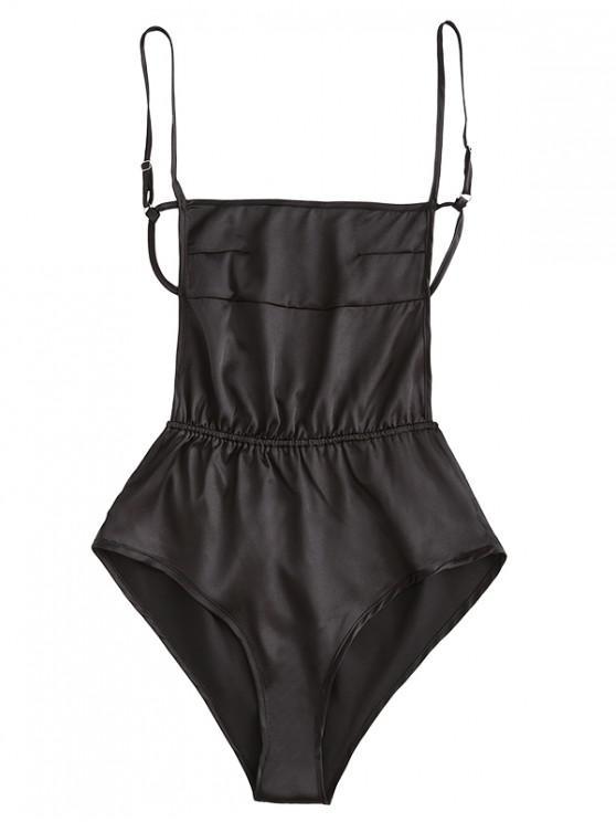 trendy Backless Cami Satin Bodysuit - BLACK M