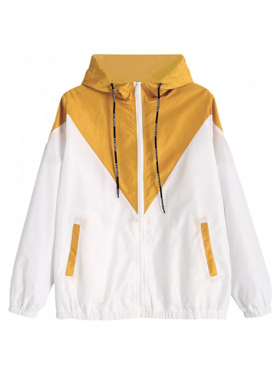 affordable Two Tone Hooded Windbreaker - YELLOW S