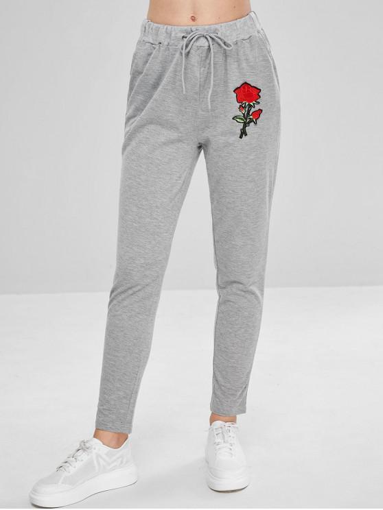 new Floral Applique Jogging Pants - LIGHT GRAY XL