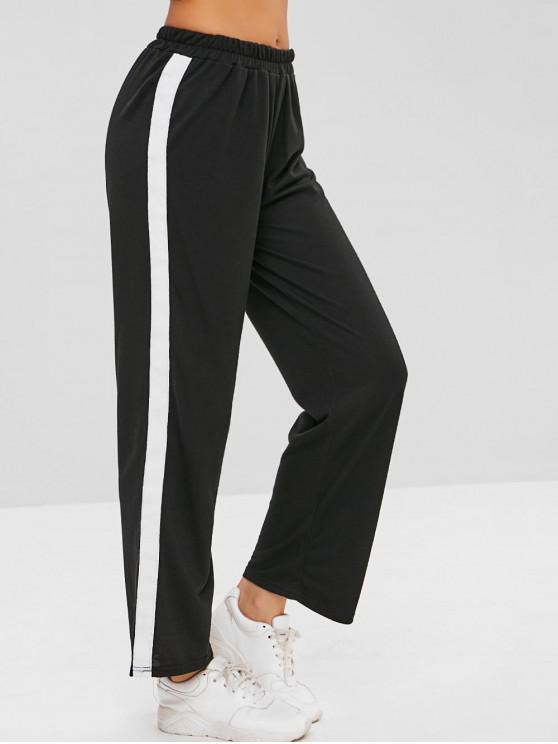 fashion Pull On Straight Leg Pants - BLACK XL
