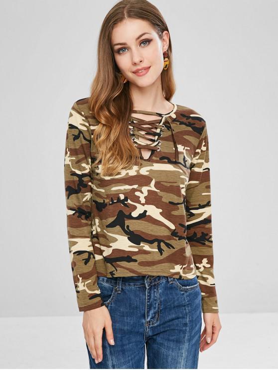 T-Shirt Stampata Di Camo Con Lacci E Maniche Lunghe - ACU Camouflage S