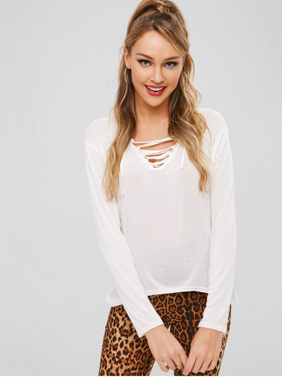 ladies Lace Up Long Sleeve Tee - WHITE L