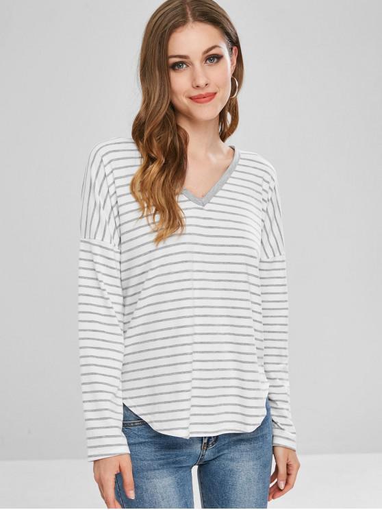T-Shirt A Righe Con Cappuccio E Maniche Lunghe - Nuvola Grigia M