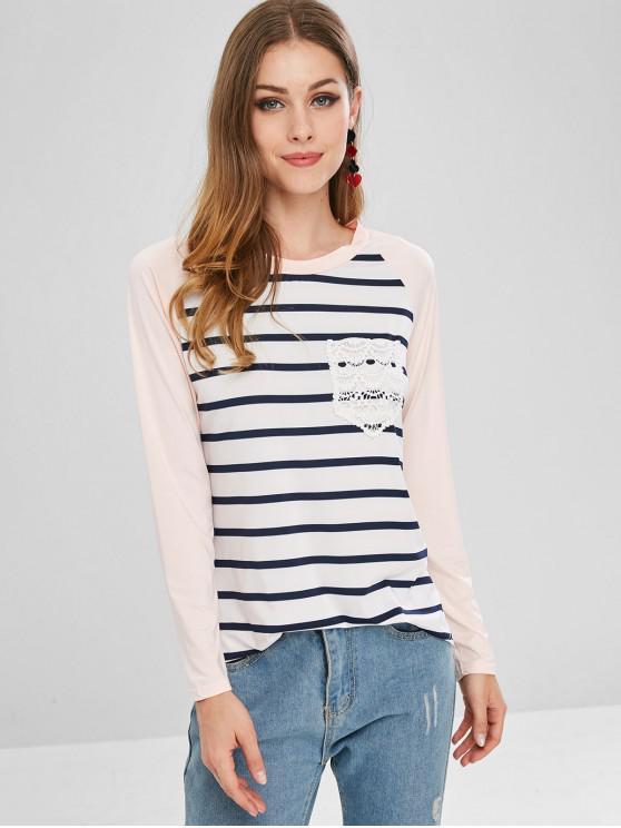 unique Striped Long Raglan Sleeve T-Shirt - MULTI-A XL