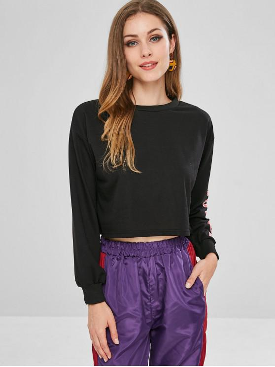 fashion Graphic Sleeve Cropped Pullover Sweatshirt - BLACK S