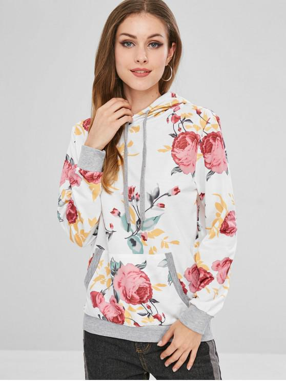 sale Floral Print Pouch Pocket Pullover Hoodie - MULTI-A L
